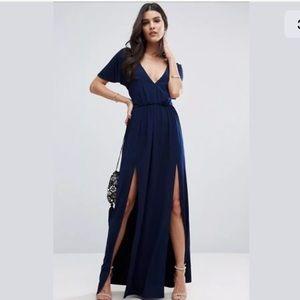 NWT ASOS Blue Flutter Sleeve Maxi Slit Dress